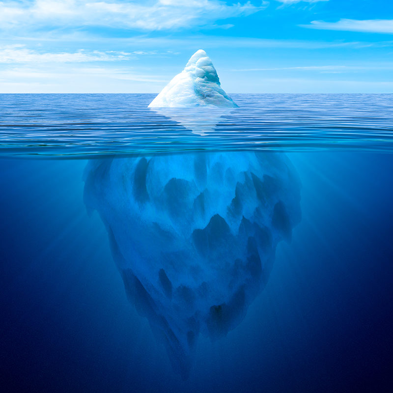 Tip of the iceberg. Underwater iceberg floating in ocean - Round Media - Qatar - SEO and effective Marketing Strategies_small